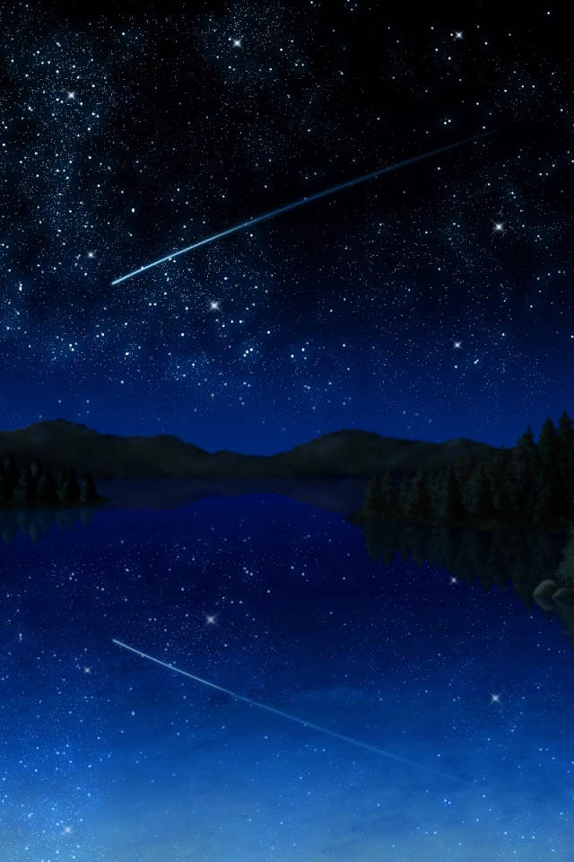 640x960 Stars Meteor Lake Forest Night Iphone 4 Wallpaper