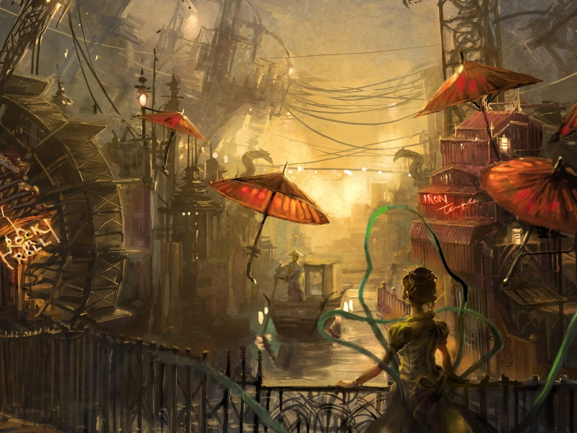 1152x864 Steampunk Anime, water, painting