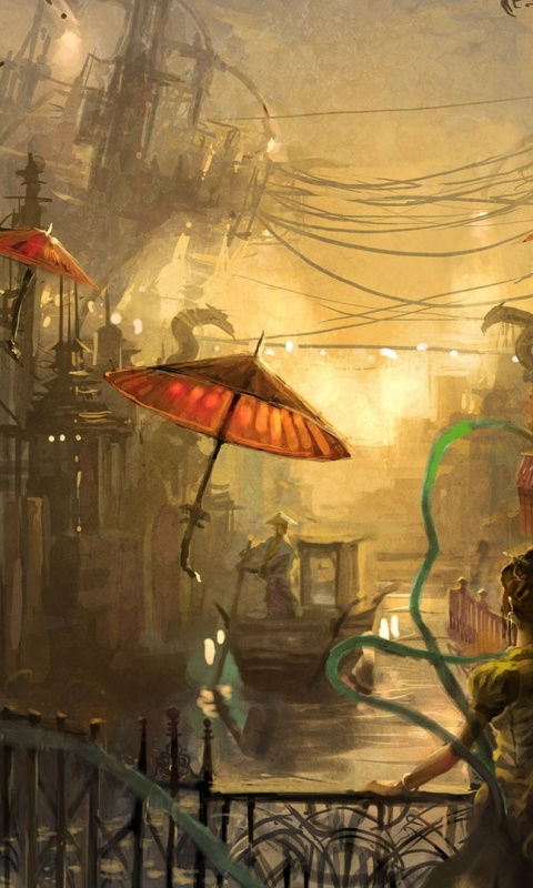 480x800 Steampunk Anime, water, painting