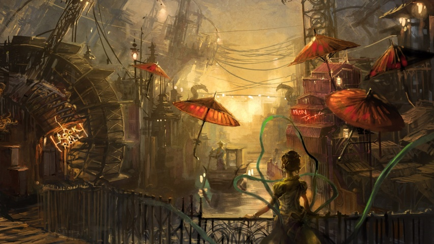825x315 Steampunk Anime, water, painting