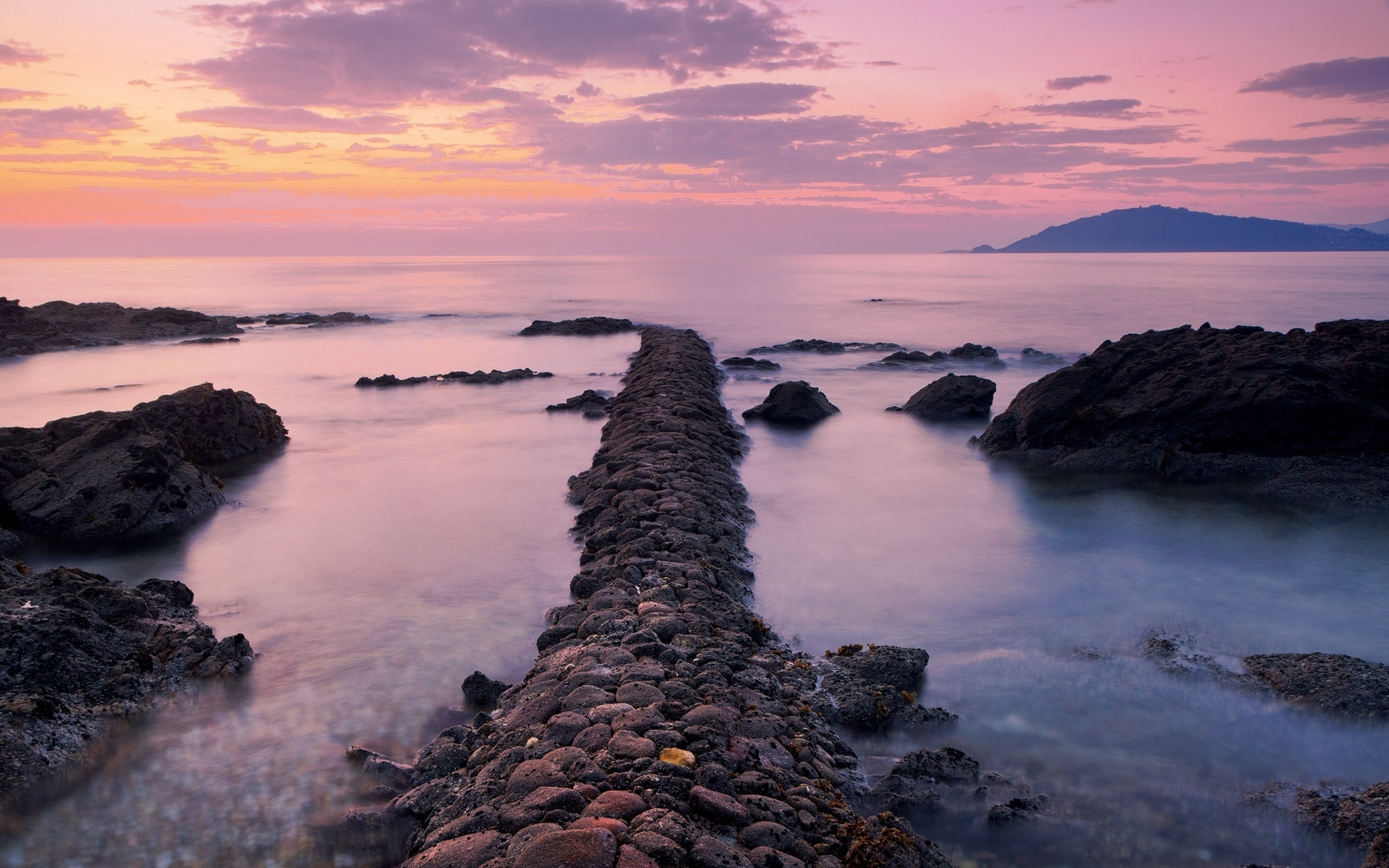stone wall ocean pink sunset wallpapers