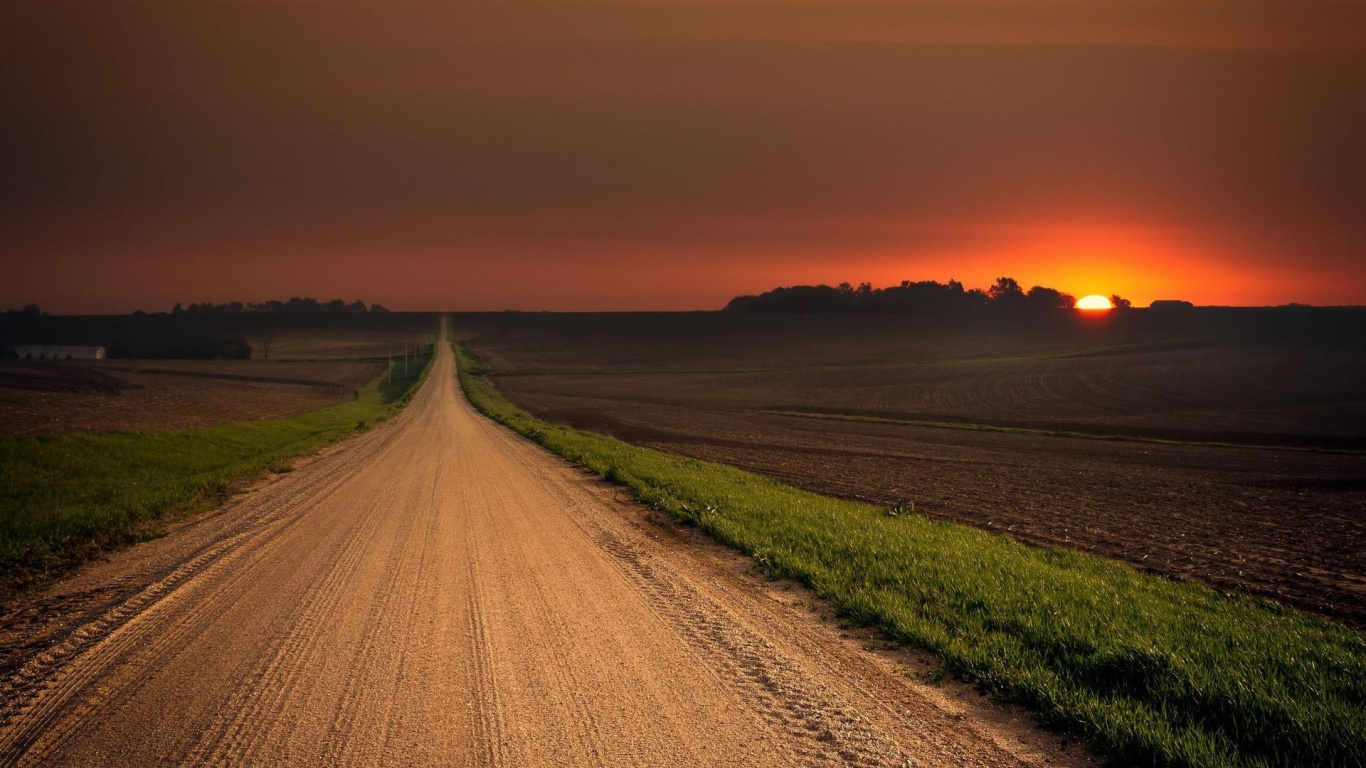 1366x768 Stunning Road Field Red Sunset Desktop PC And Mac