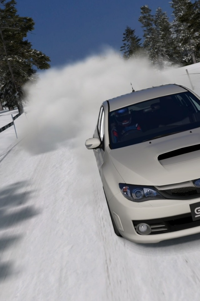 640x960 Subaru Impreza Sti Snow Iphone 4 Wallpaper
