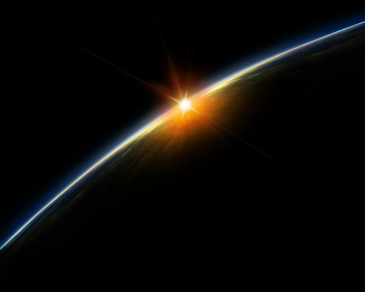 1280x1024 sunrise from space desktop pc and mac wallpaper