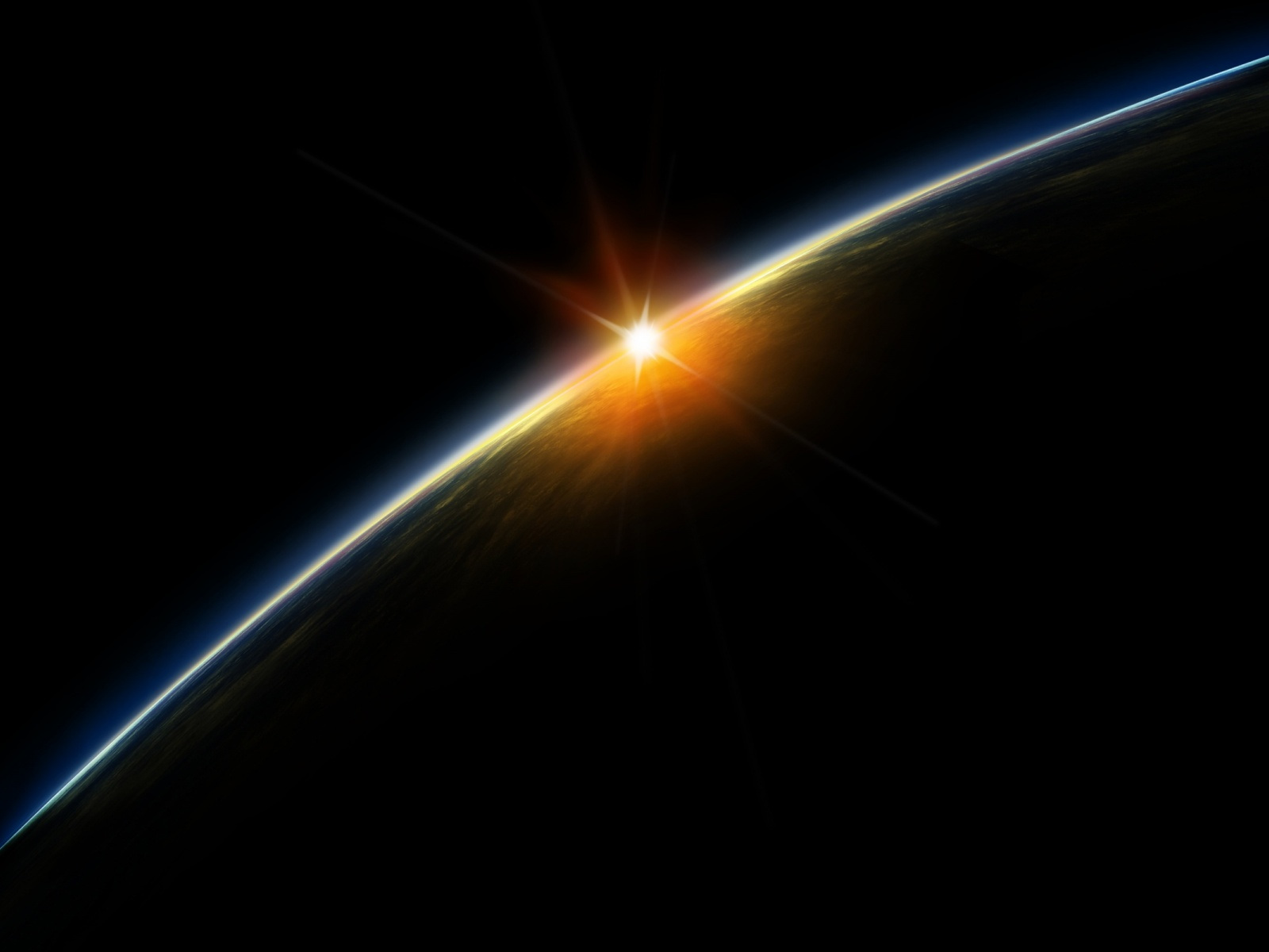 1600x1200 Sunrise from space desktop PC and Mac wallpaper