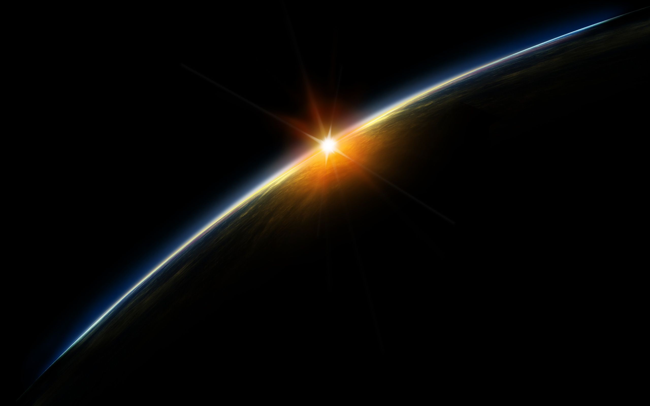 2560x1600 sunrise from space desktop pc and mac wallpaper
