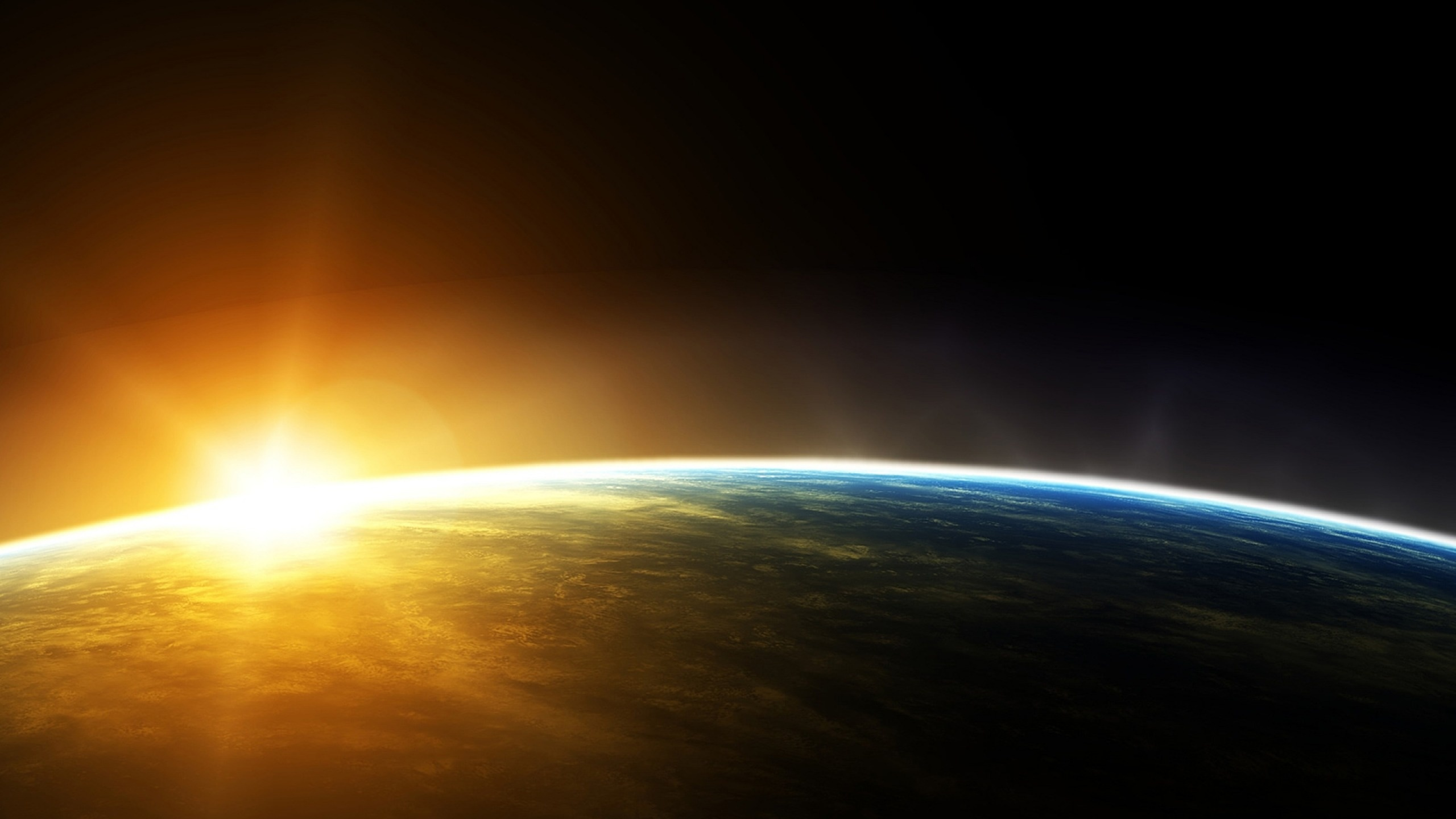 Outer space sunrise wallpapers wallpaper desktop - Space 2560 x 1440 ...