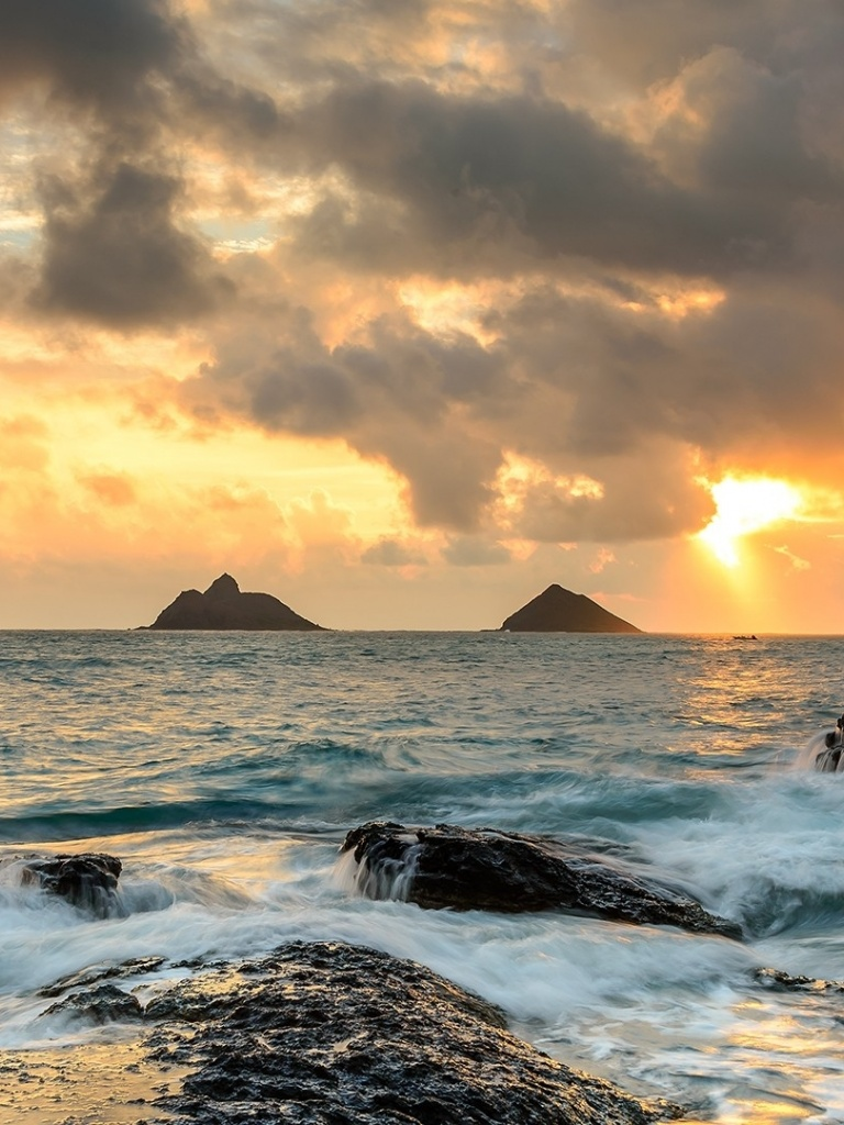 768x1024 Sunrise Ocean Rocks Hawaii