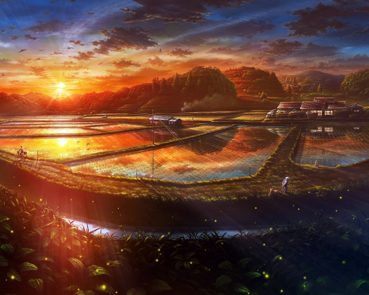 1280x1024 Sunset Anime Scenery Drawn Desktop PC And Mac Wallpaper