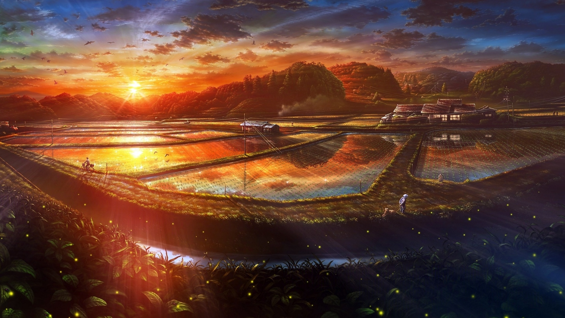 1920x1080 Sunset Anime Scenery Drawn Desktop Pc And Mac Wallpaper