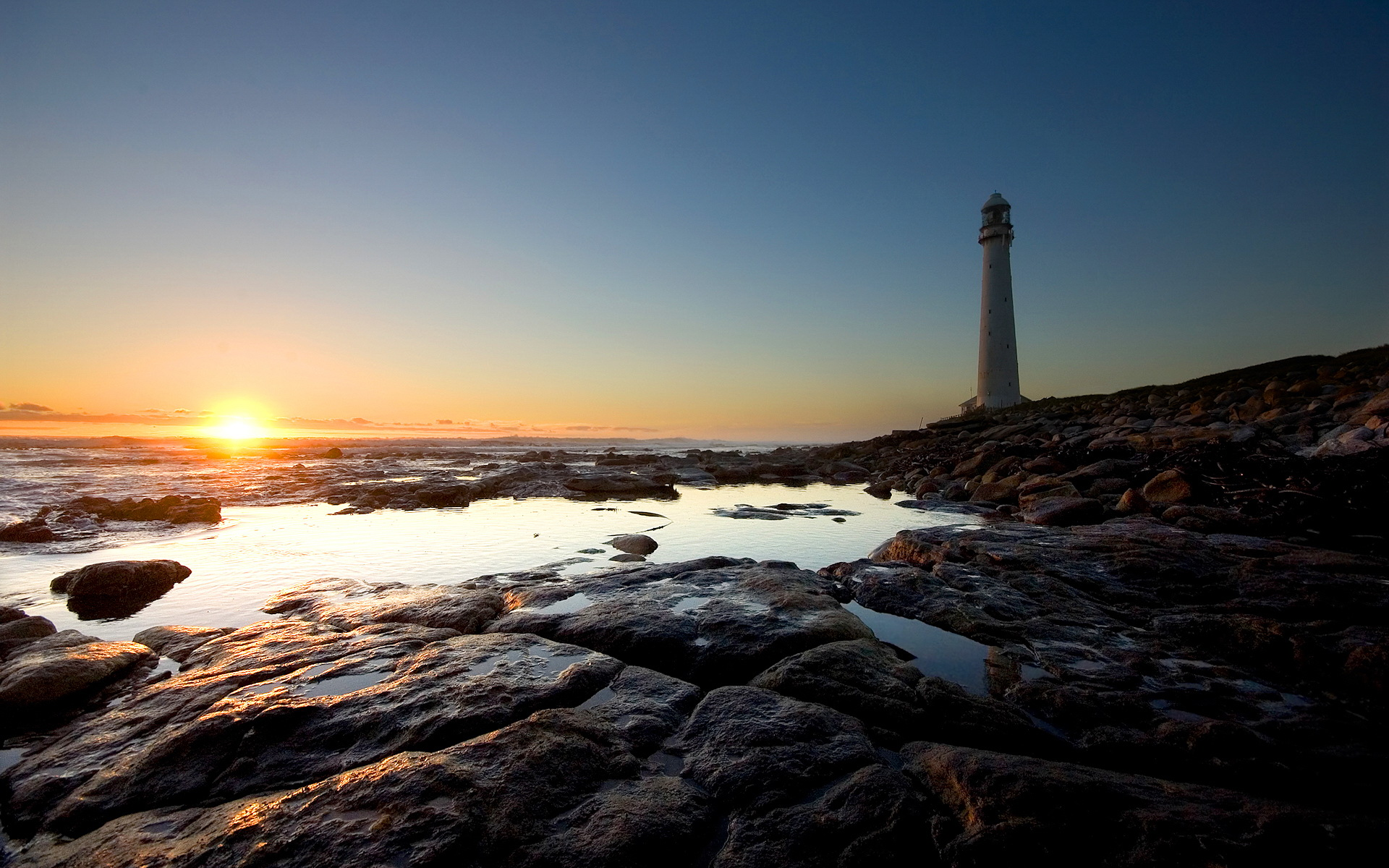 1920x1200 Sunset at lighthouse desktop wallpapers and stock photos