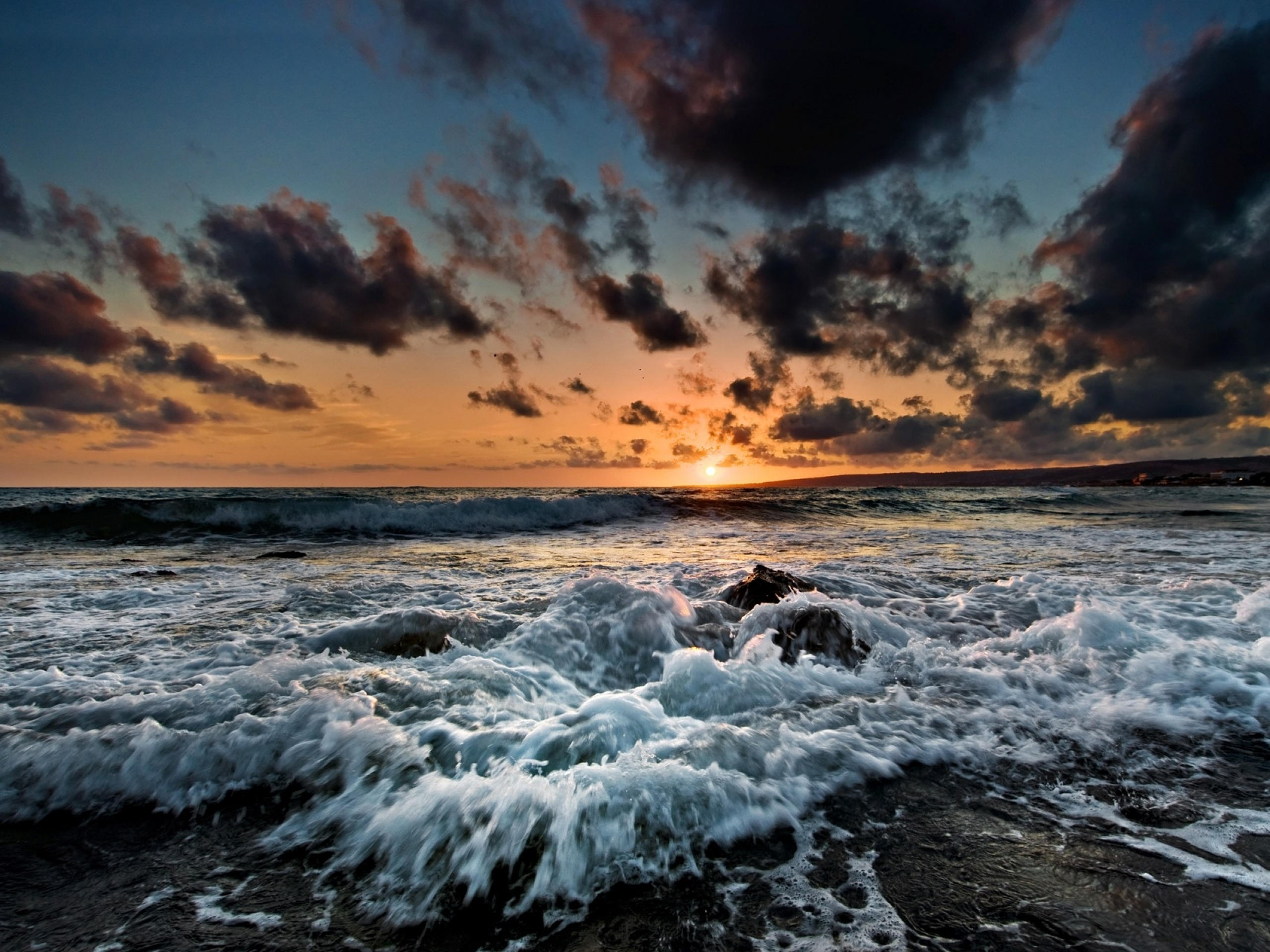 2560x1440 Sunset Clouds Foam Ocean Youtube Channel Cover