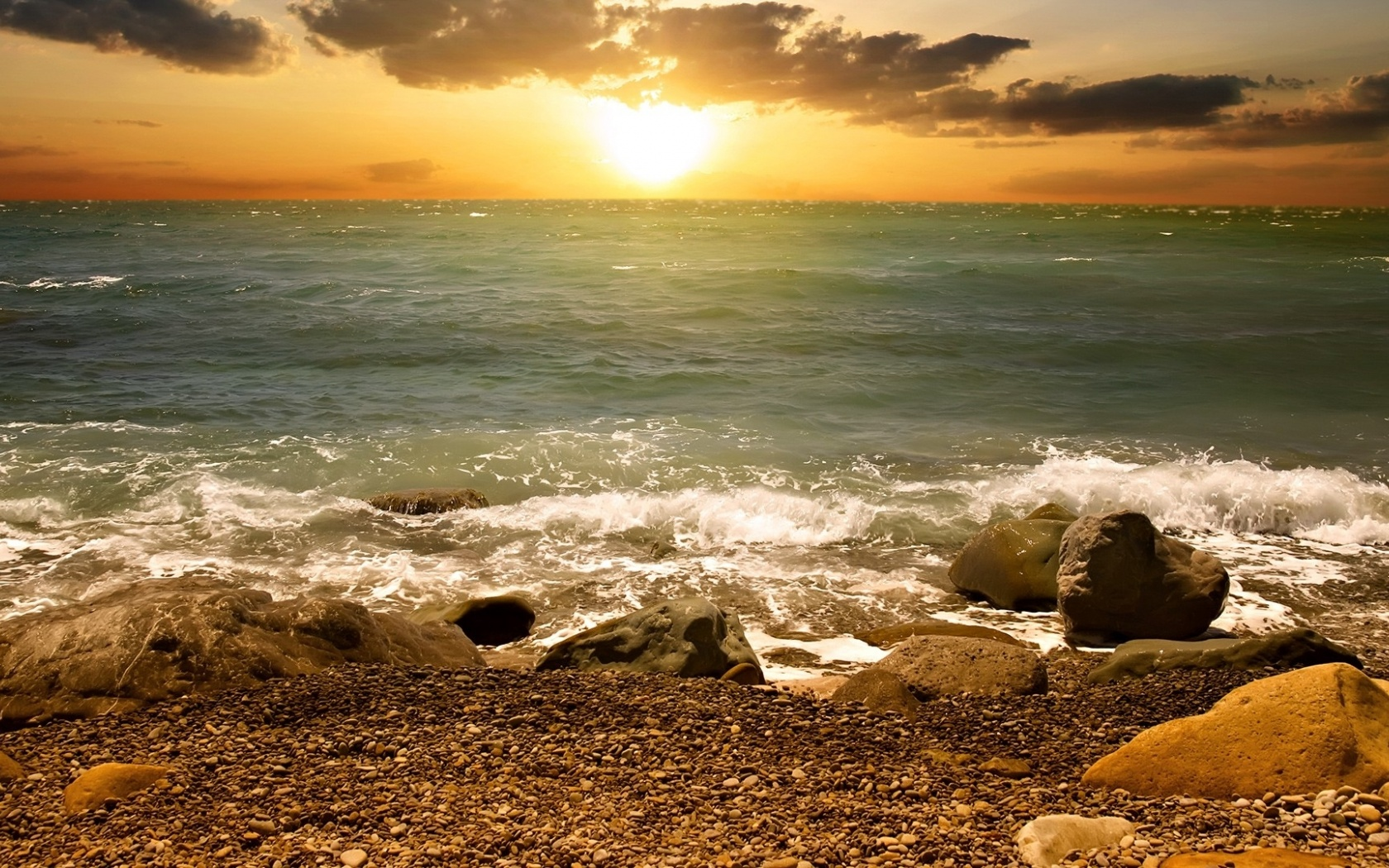 1500x500 Sunset Clouds Sea Waves Stones Twitter Header Photo