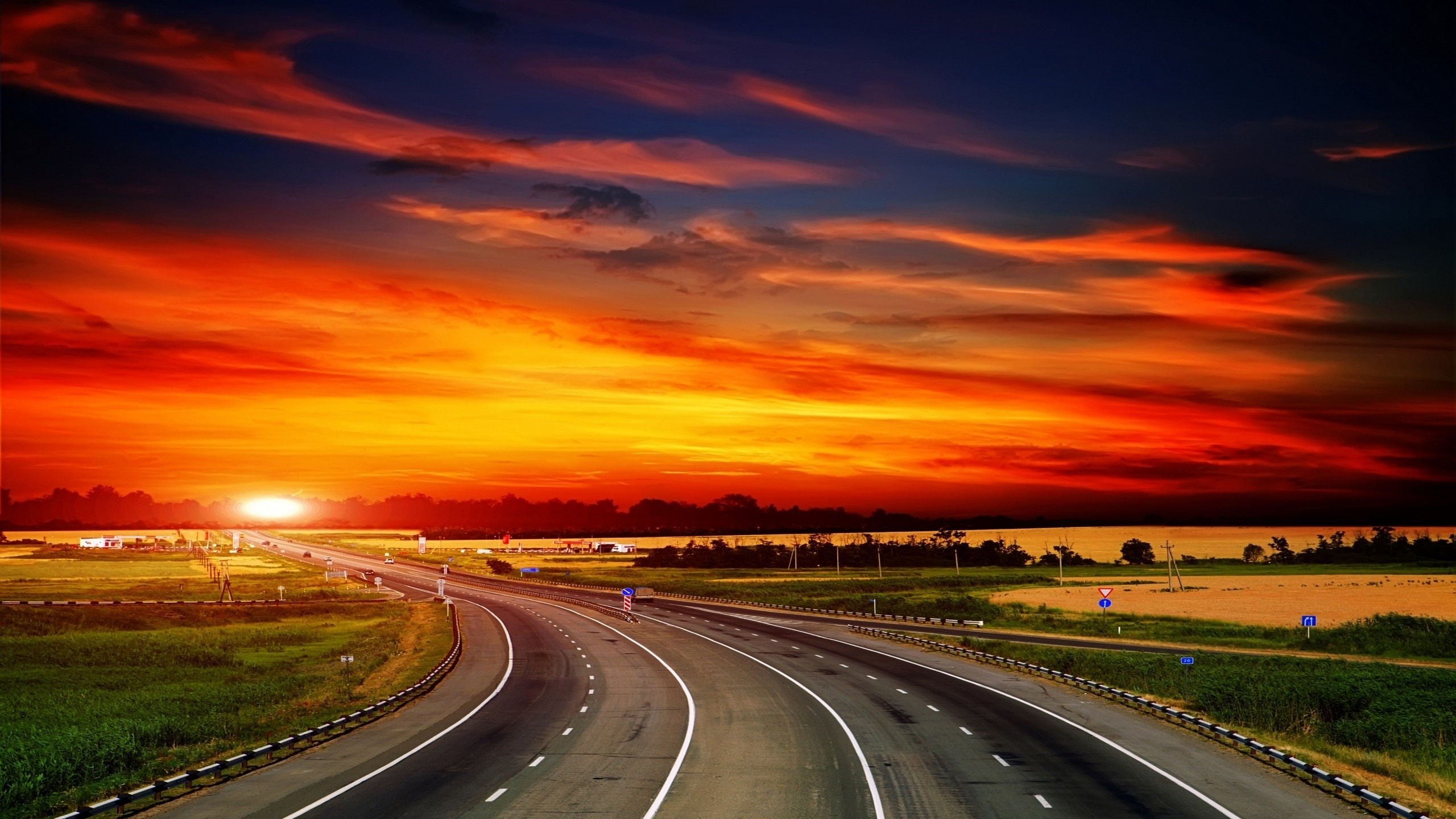 2560x1440 Sunset High Way Scenic Desktop PC And Mac Wallpaper
