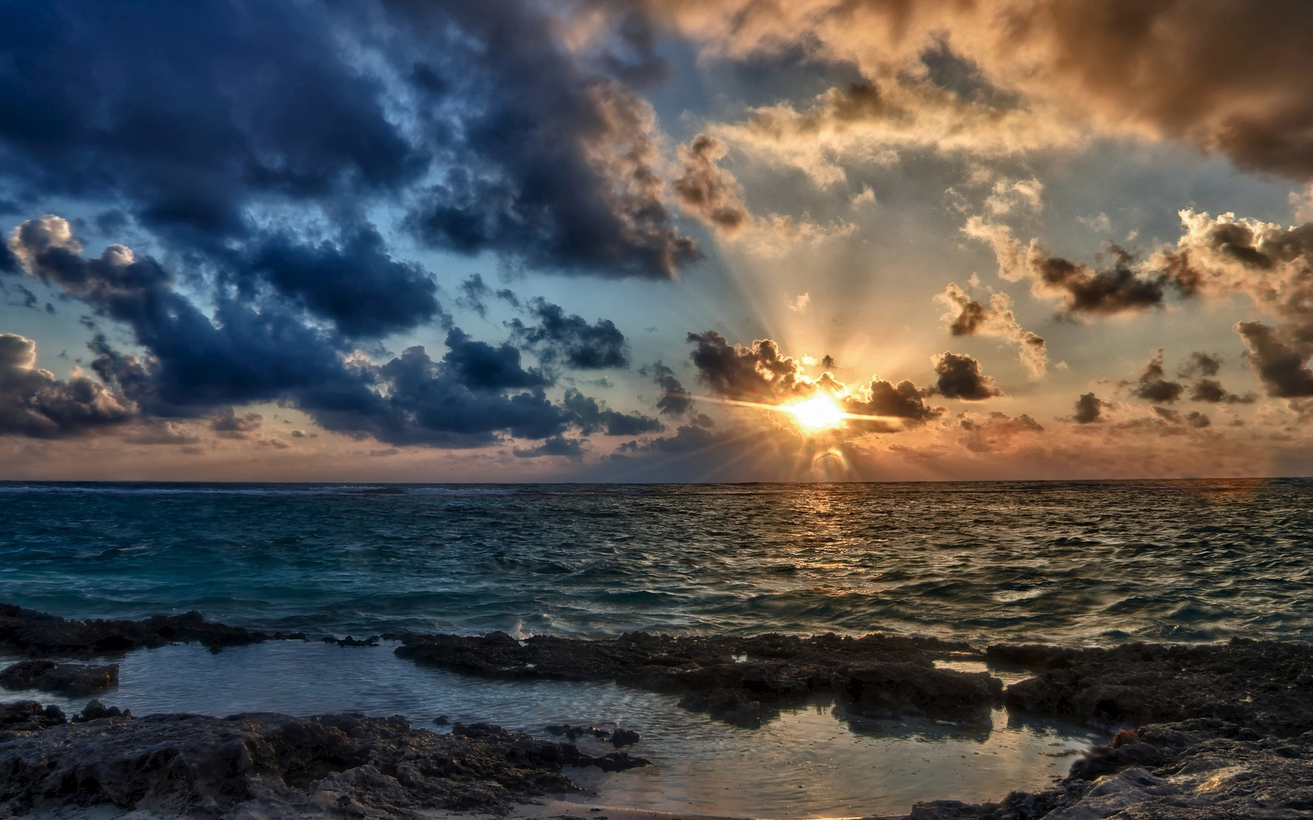 sunset clouds and ocean wallpaper - photo #1