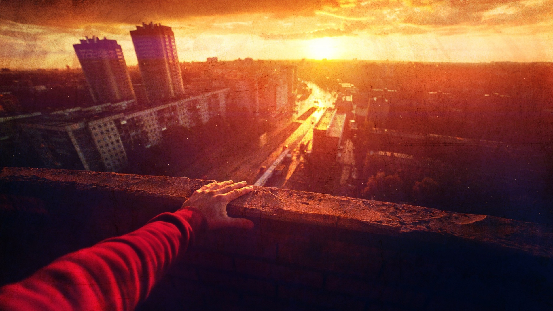 1920x1080 sunset over the city desktop pc and mac wallpaper