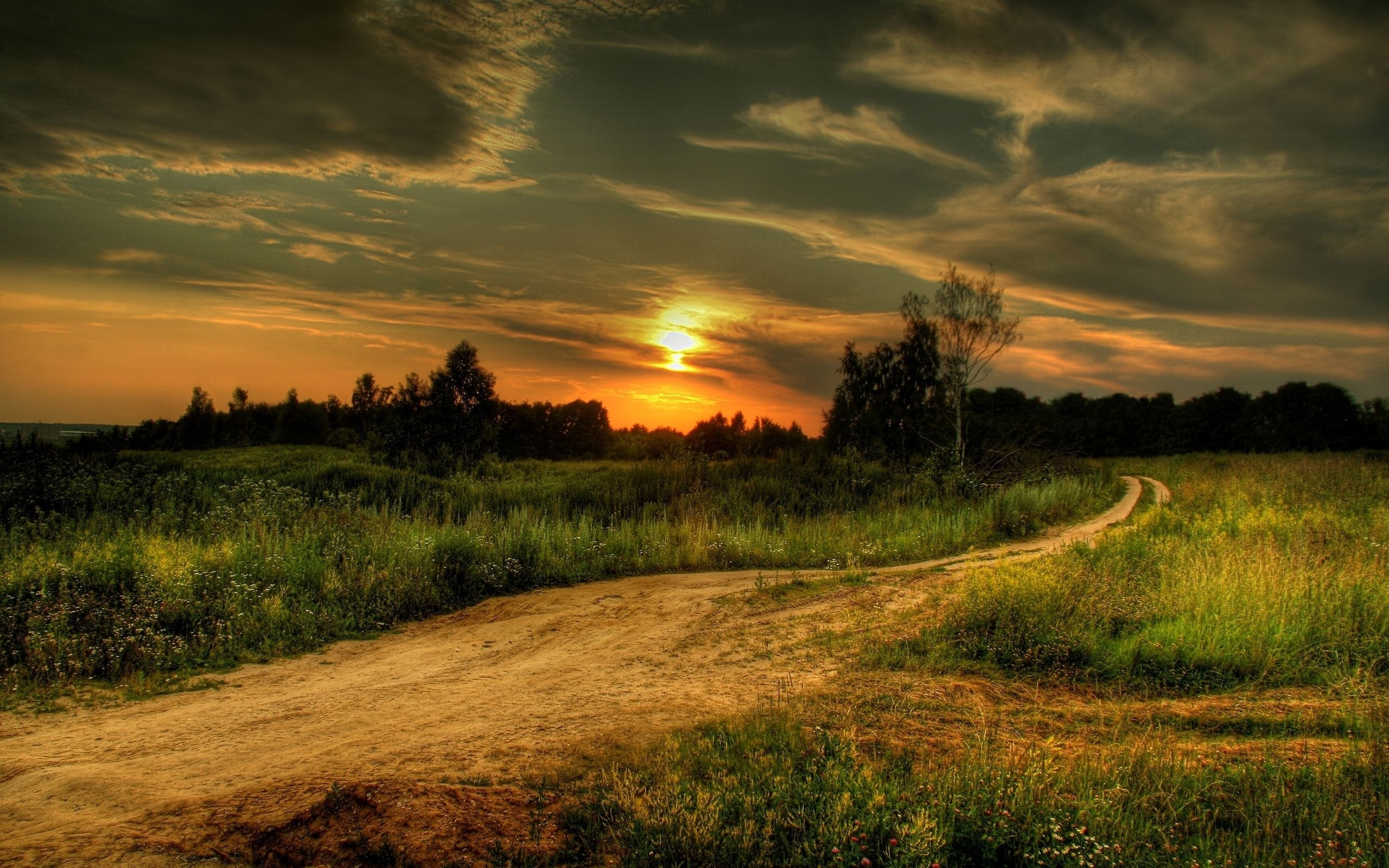 2560x1600 Sunset Road & Fields desktop PC and Mac wallpaper