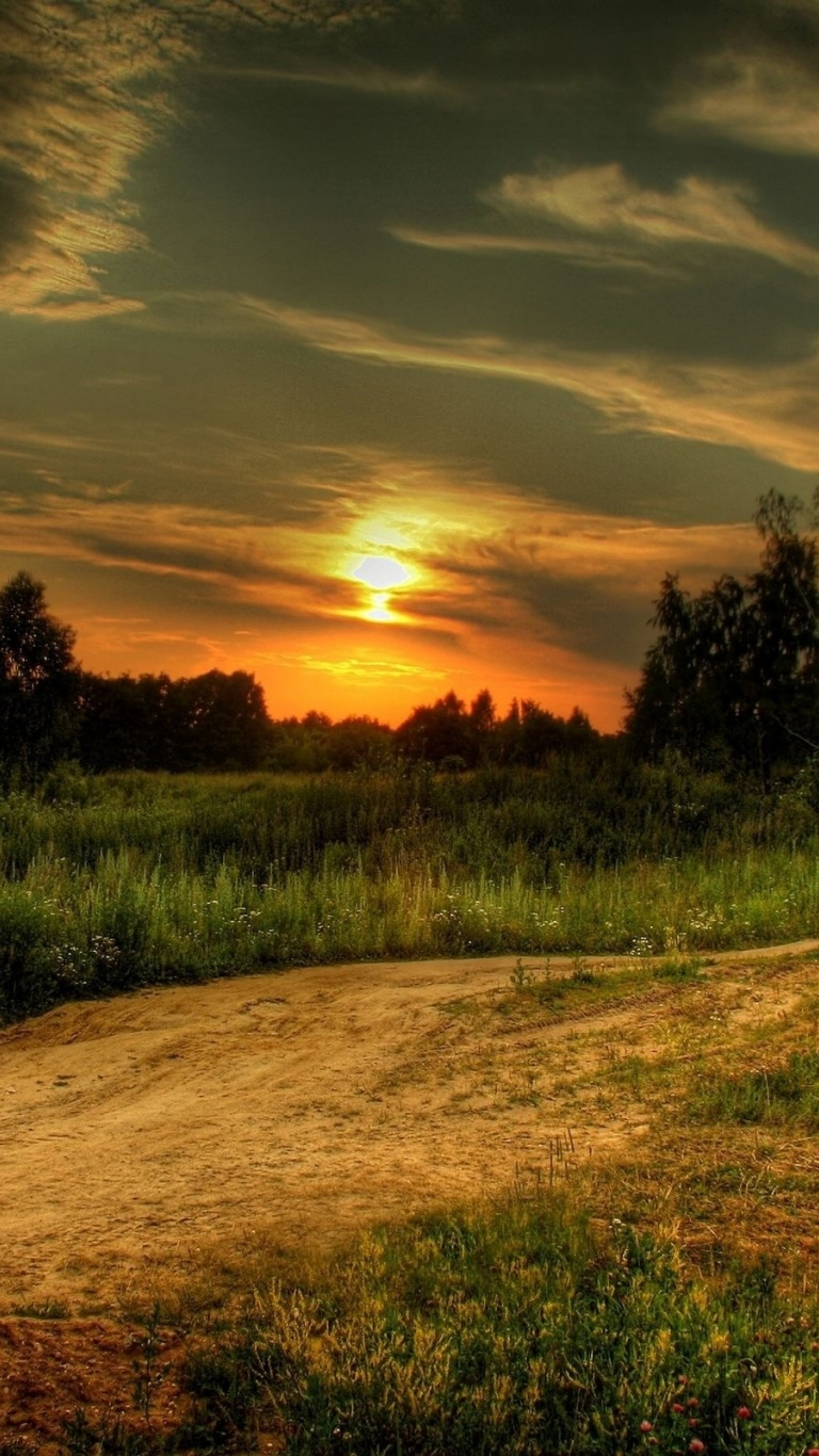 768x1366 Sunset Road & Fields Surface rt wallpaper