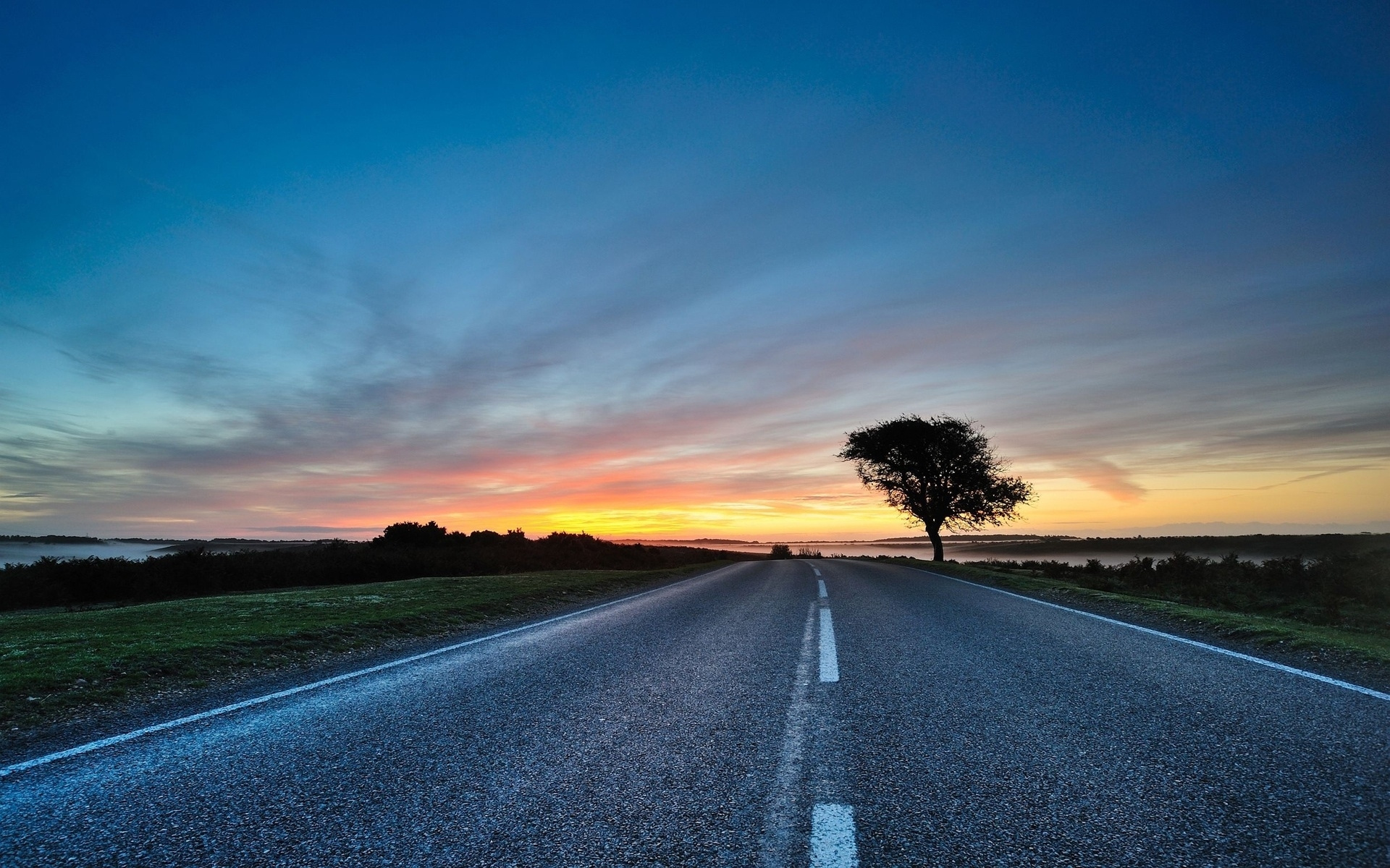 sunset road horizon amp scenic wallpapers sunset road