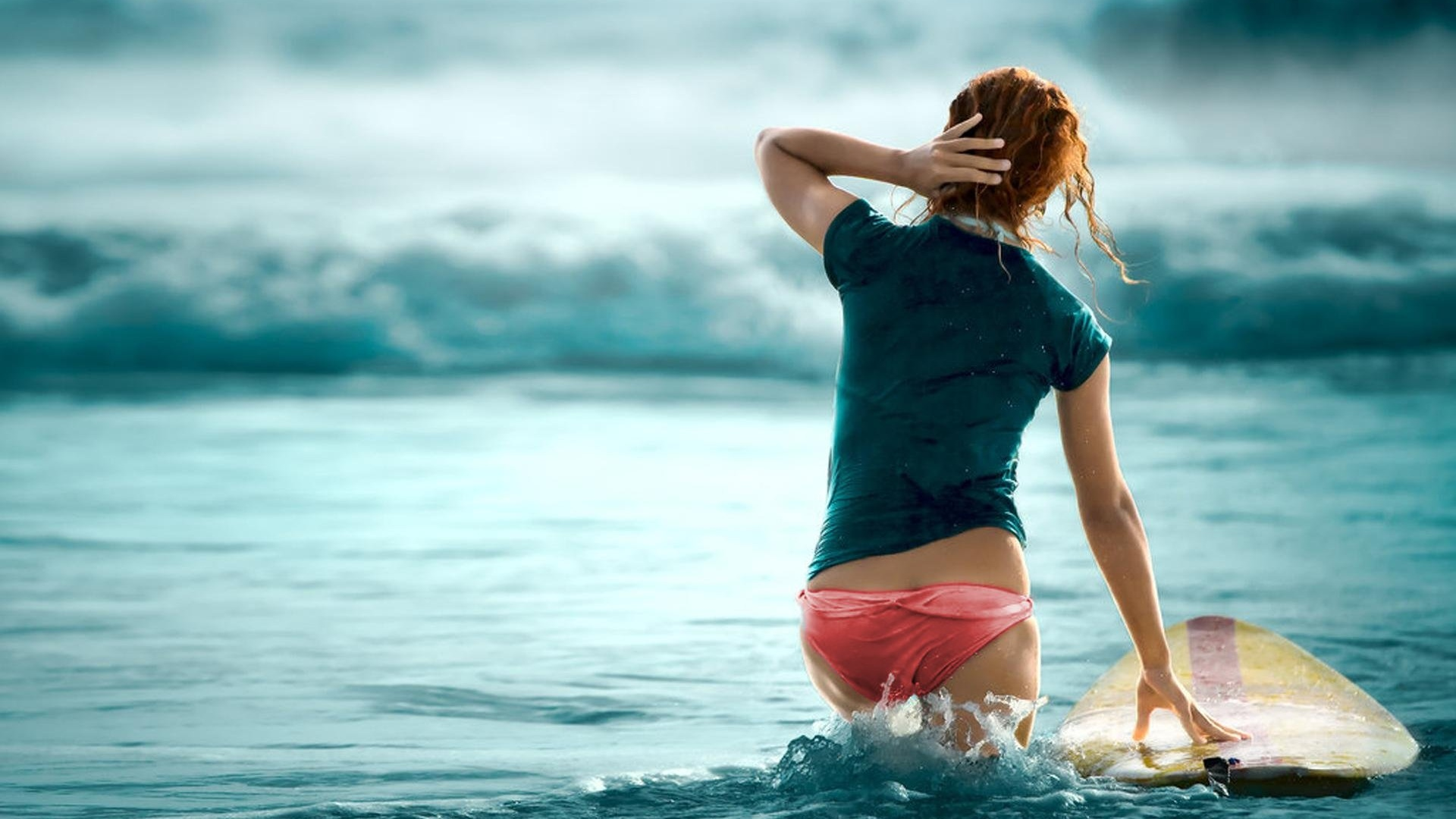 1920x1080 Surf Girl Desktop Pc And Mac Wallpaper
