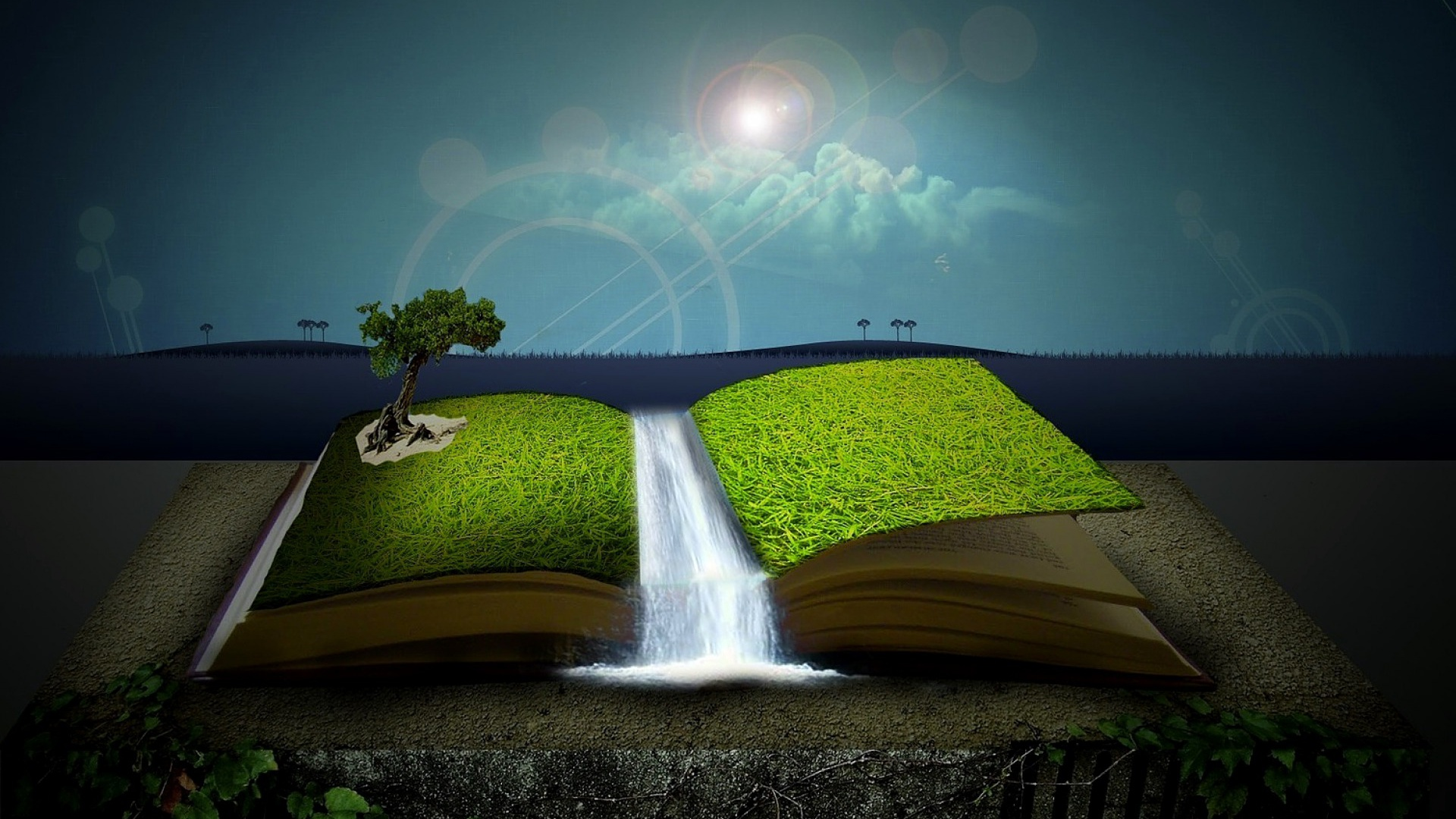 1920x1080 surreal magic book desktop pc and mac wallpaper