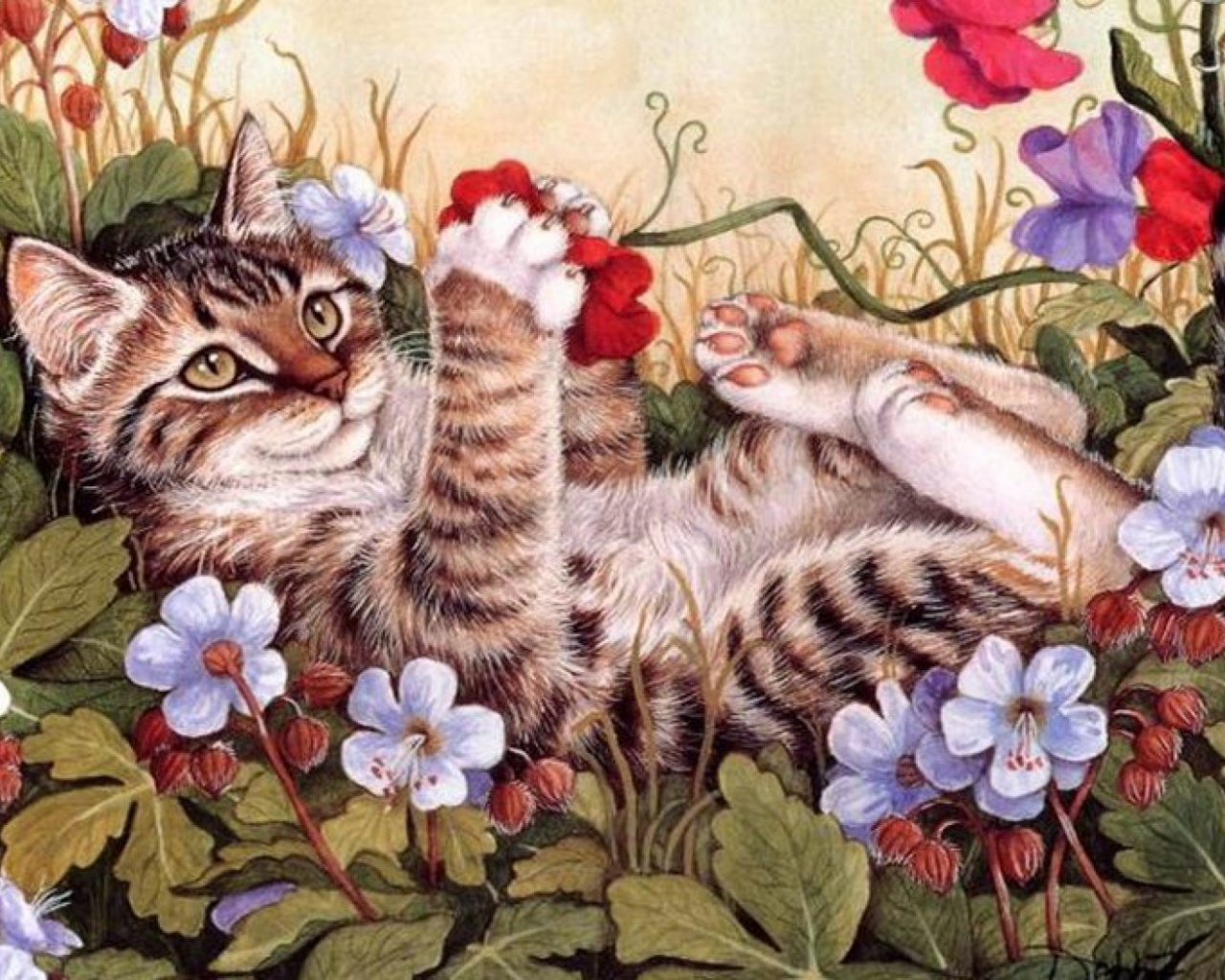 1280x1024 Sweet Kitty Playing Flowers