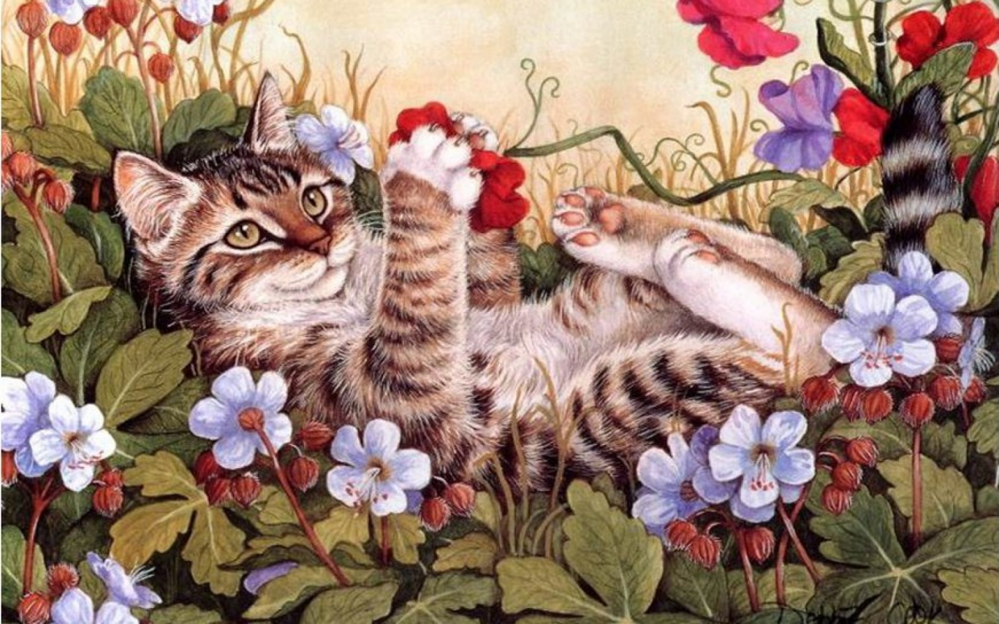 1440x900 Sweet Kitty Playing Flowers