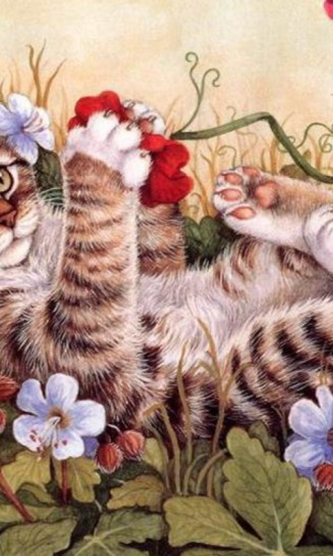 480x800 Sweet Kitty Playing Flowers