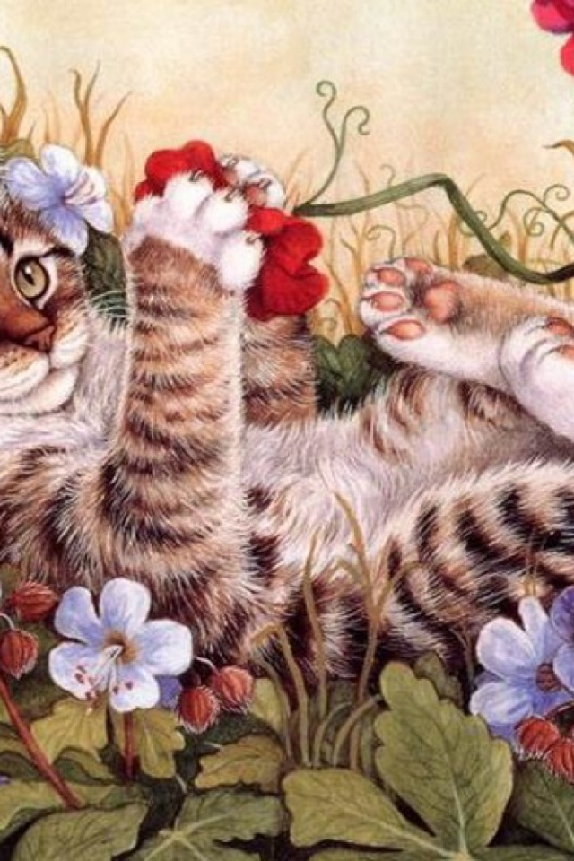 640x960 Sweet Kitty Playing Flowers