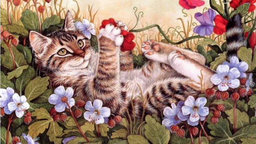 825x315 Sweet Kitty Playing Flowers