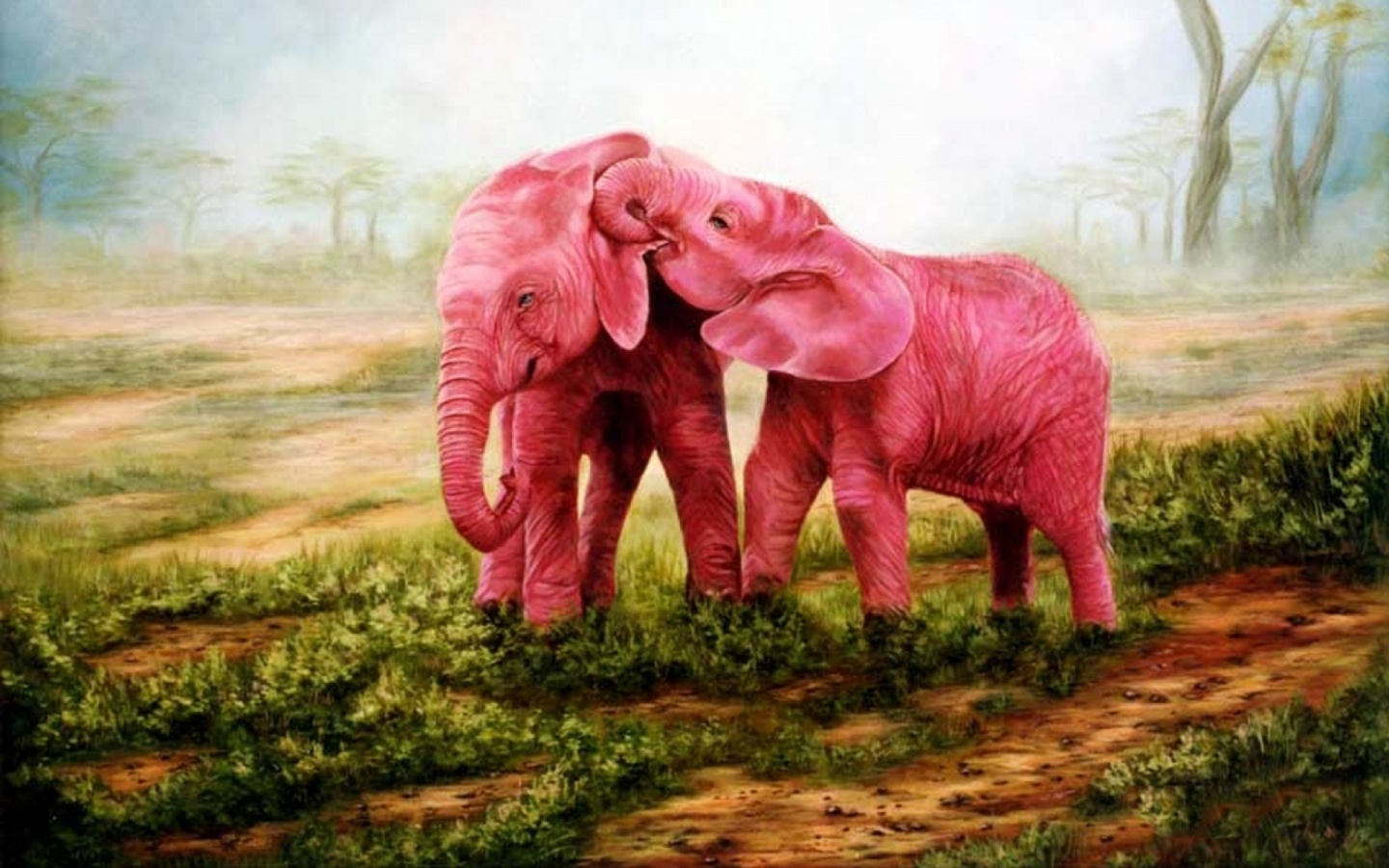 1440x900 Sweet Pink Elephants Couple