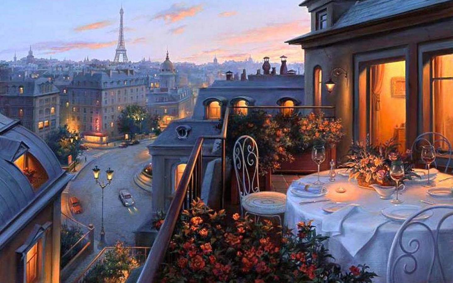 1440x900 terrace dinner evening lookout desktop pc and mac for Dinner on the terrace