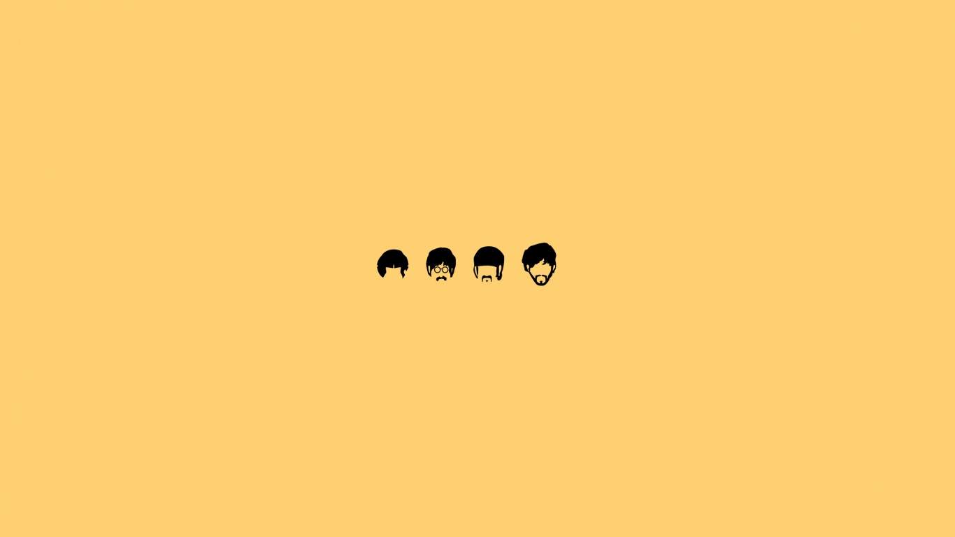 1366x768 The Beatles Minimalistic Illustration
