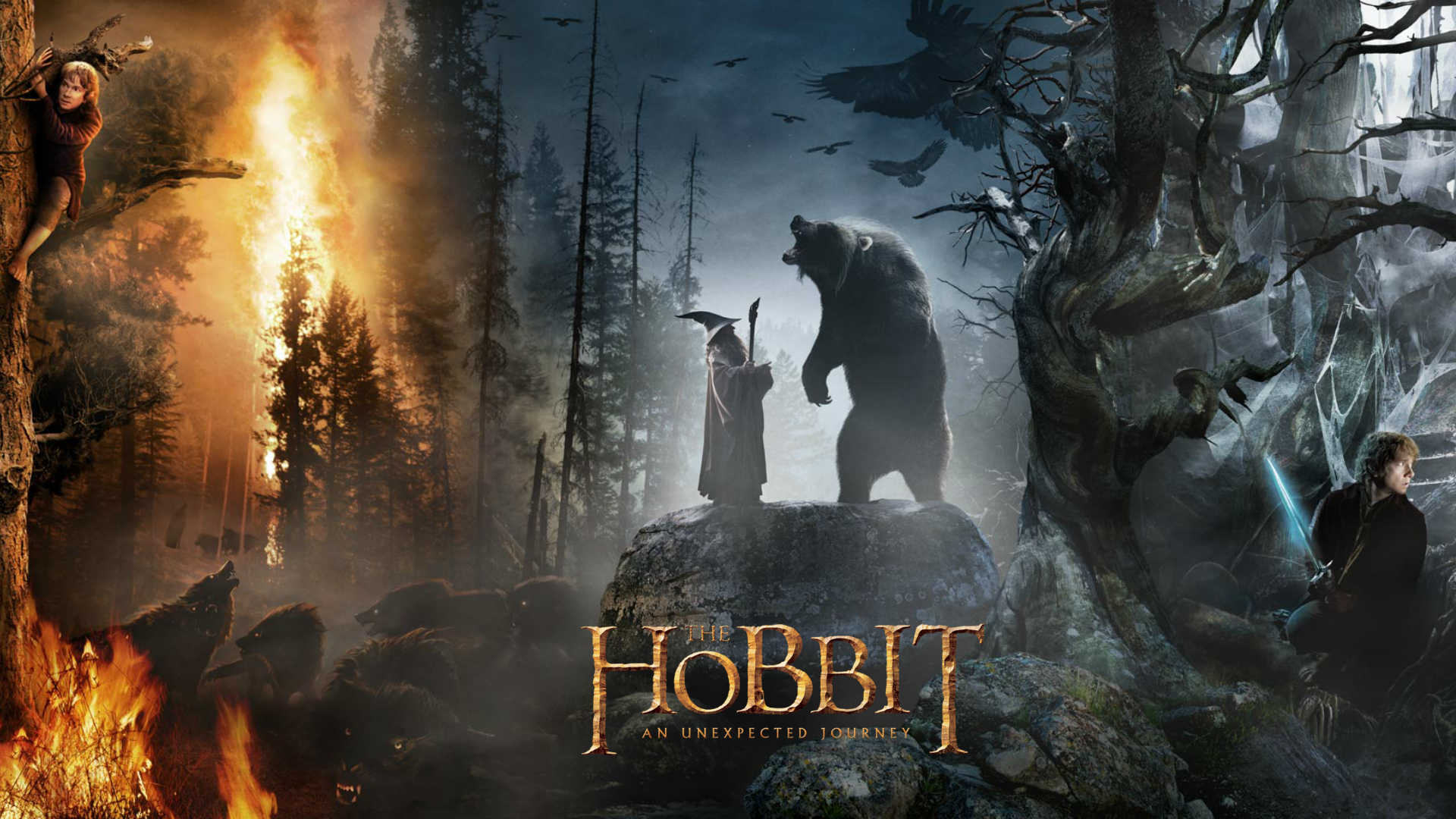 1920x1080 the hobbit gandalf and bear desktop pc and mac wallpaper