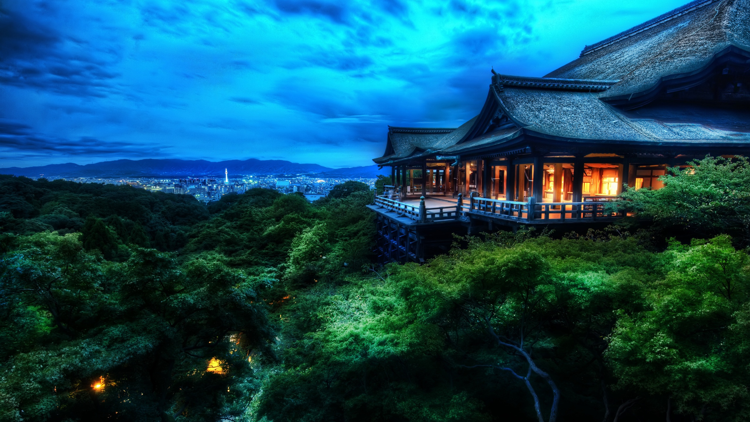 The Treetop Temple Protects Kyoto Japan Desktop PC And Mac Wallpaper