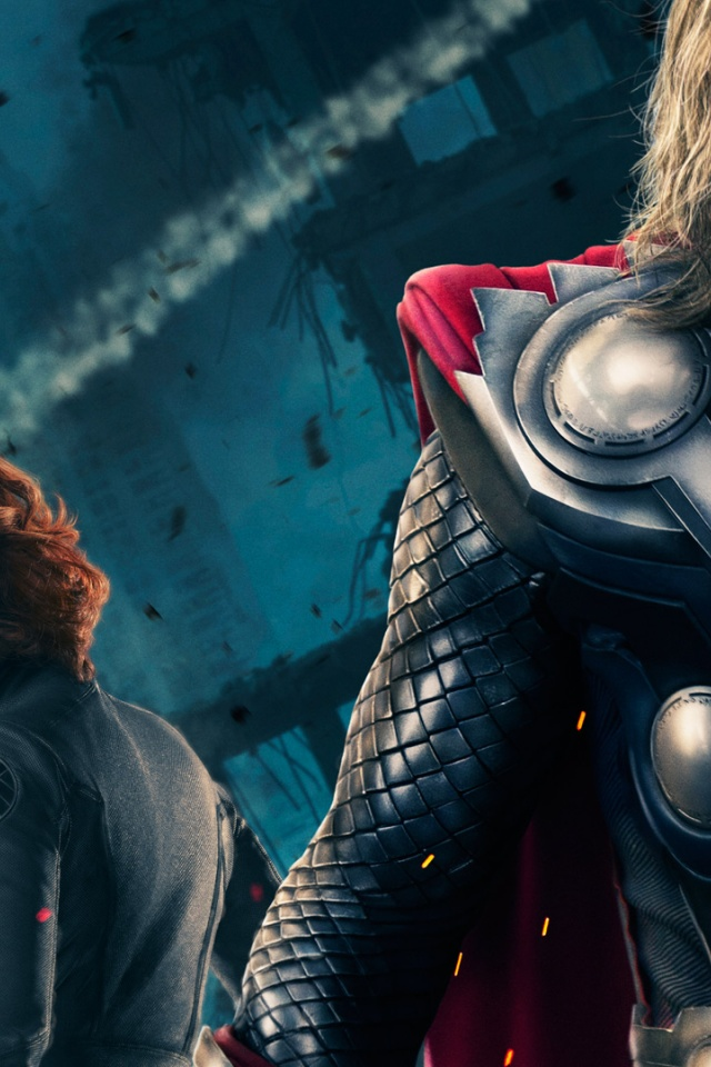 640x960 Thor And Black Widow Iphone 4 Wallpaper