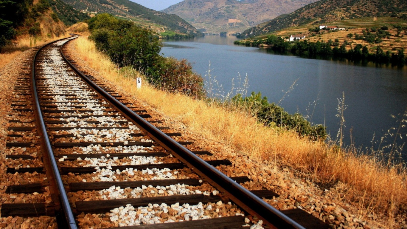1366x768 Train Tracks Along The River