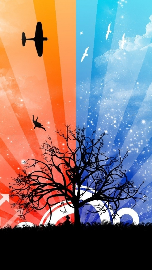 640x1136 Tree Airplane People Nature Iphone 5 Wallpaper