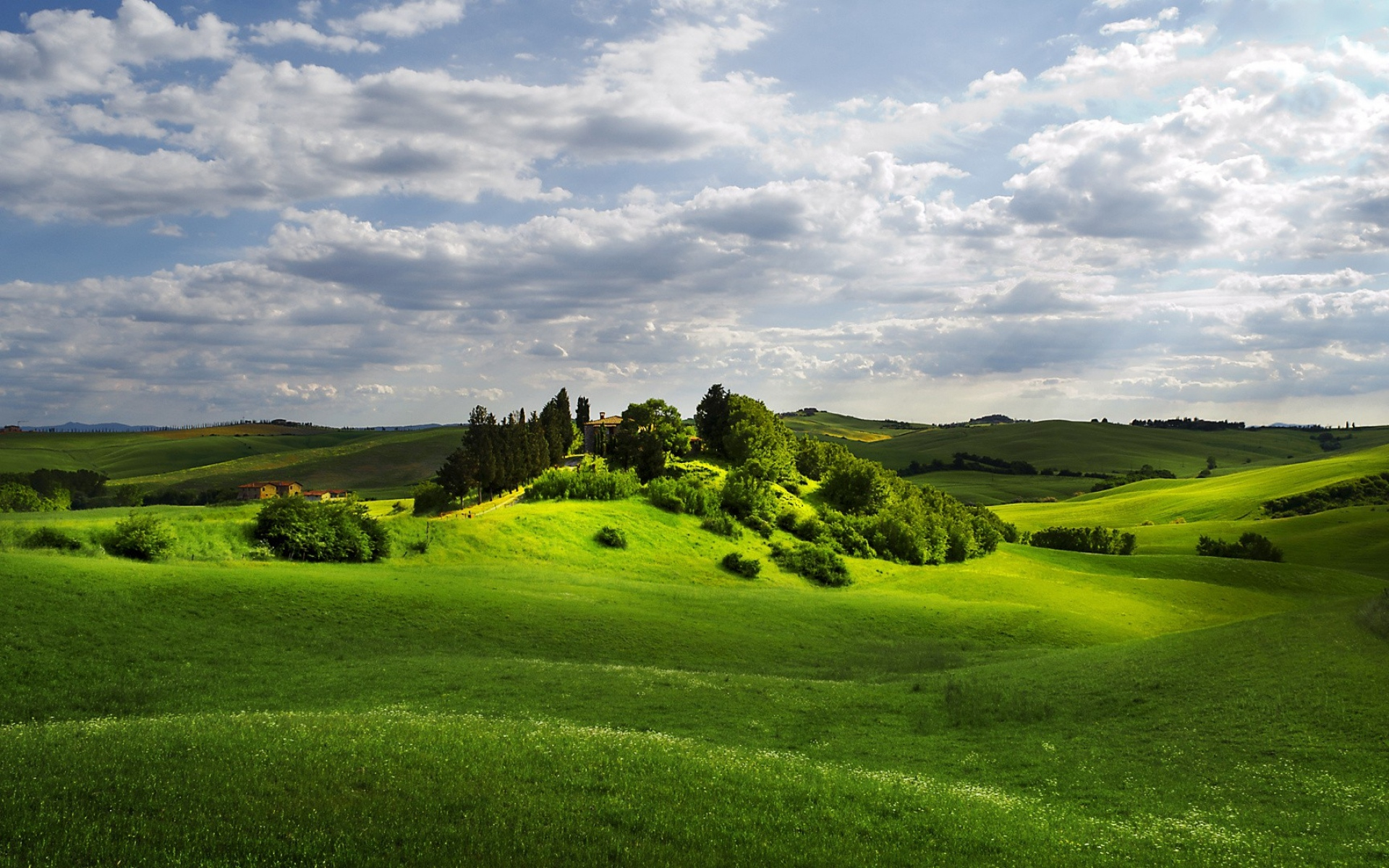 Trees Field Hills Houses Cloud Wallpapers Trees Field