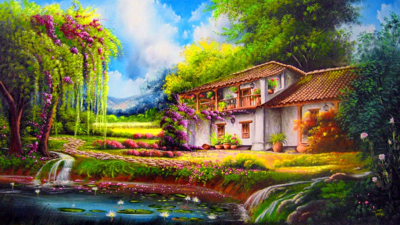 1366x768 trees pond cottage way flowers desktop pc and mac for Rural net cool ca