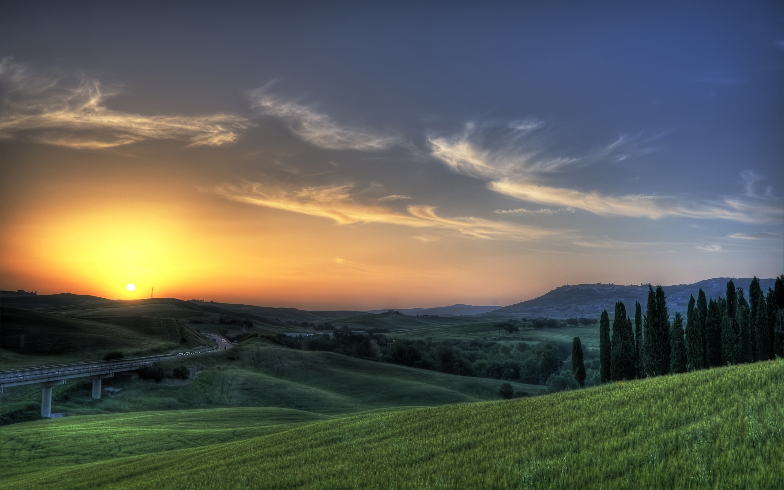 Road Sunset Wallpaper Tuscany Sunset Road &a...