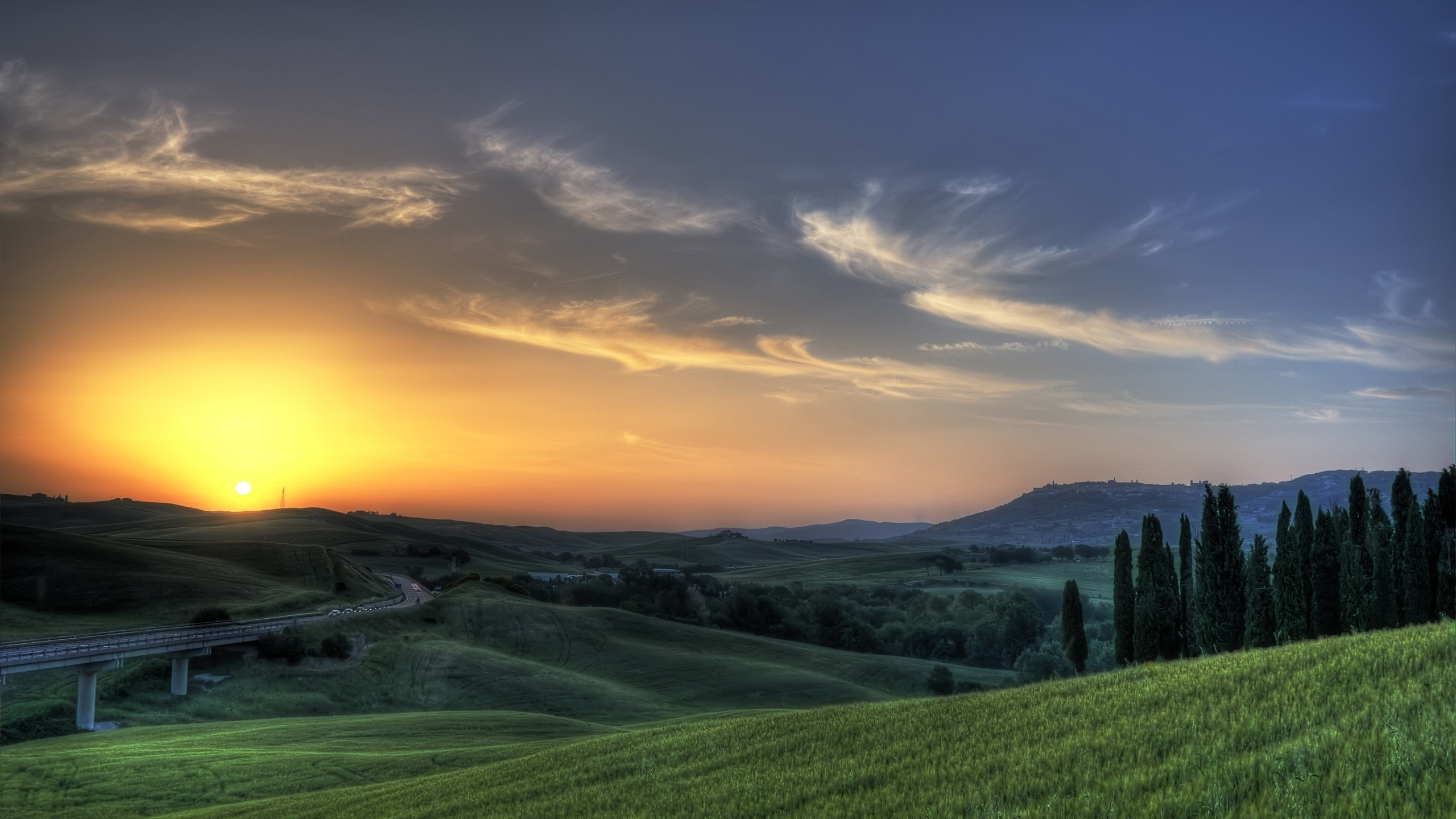 2560x1440 Tuscany Sunset Road Nature Desktop Pc And Mac