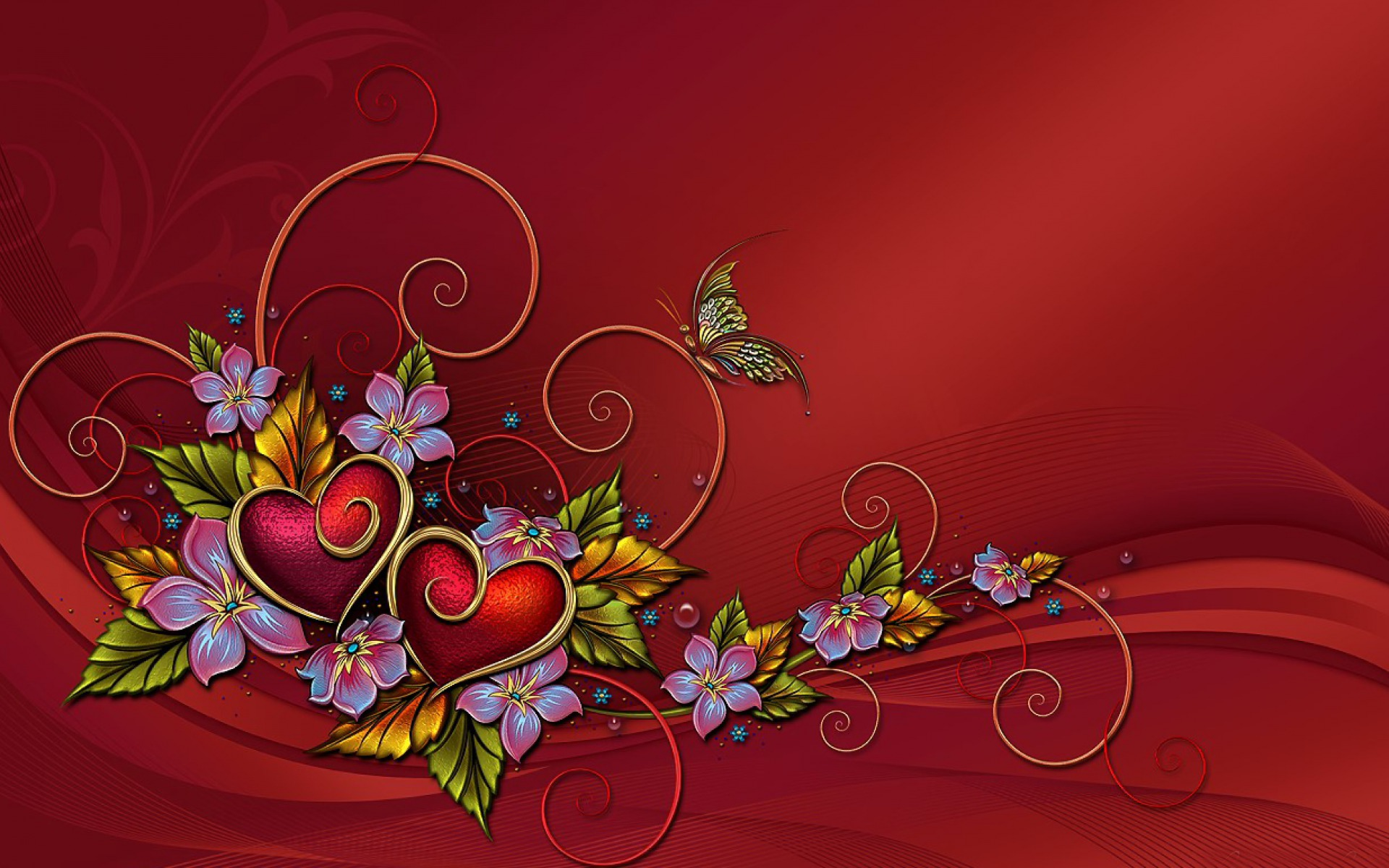 Two Hearts Flowers Butterfly Wallpapers