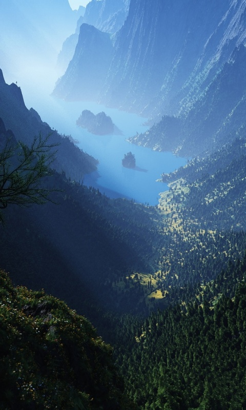 480x800 Valley, mountain, lion