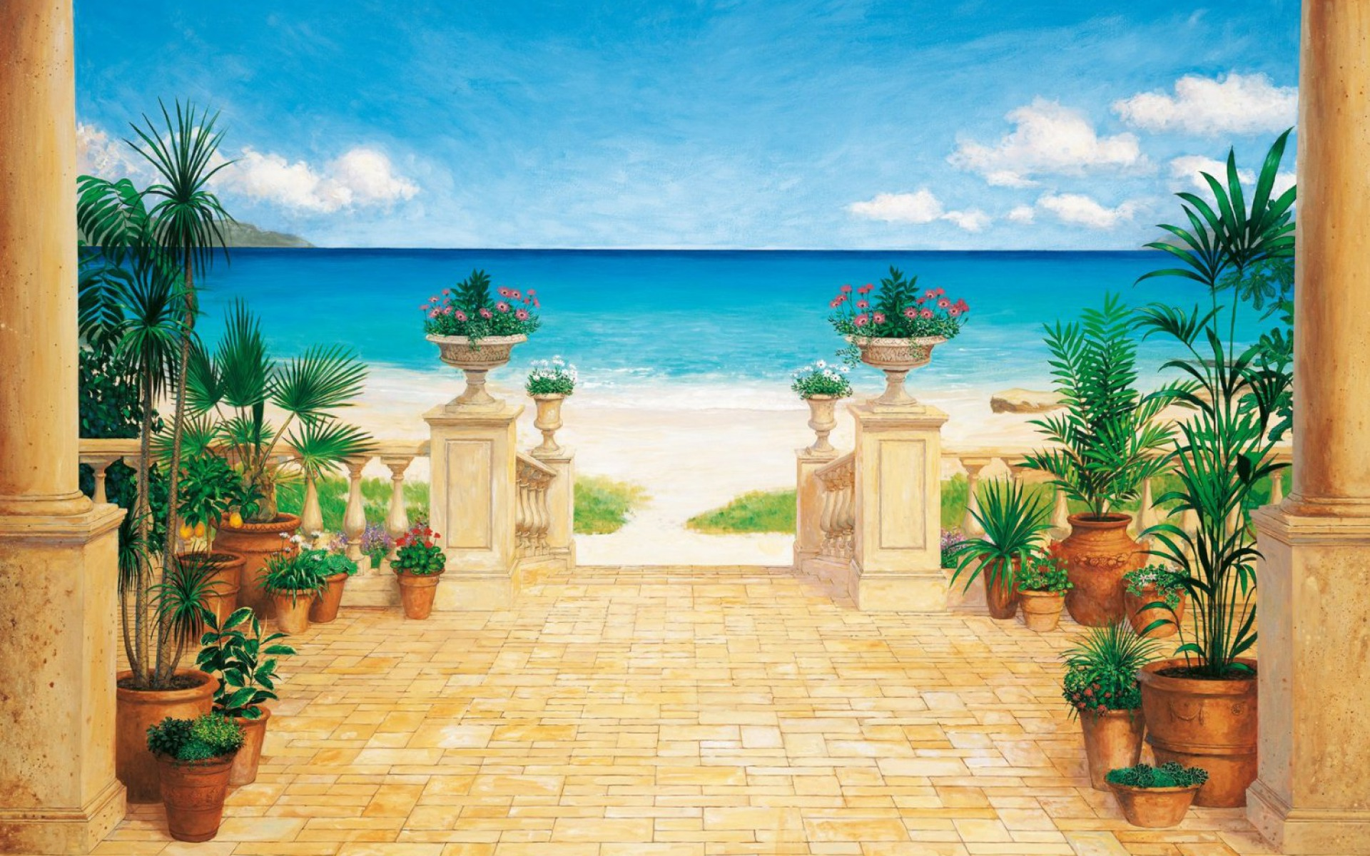 Villa potted flowers beach wallpapers villa potted for Villas wallpaper