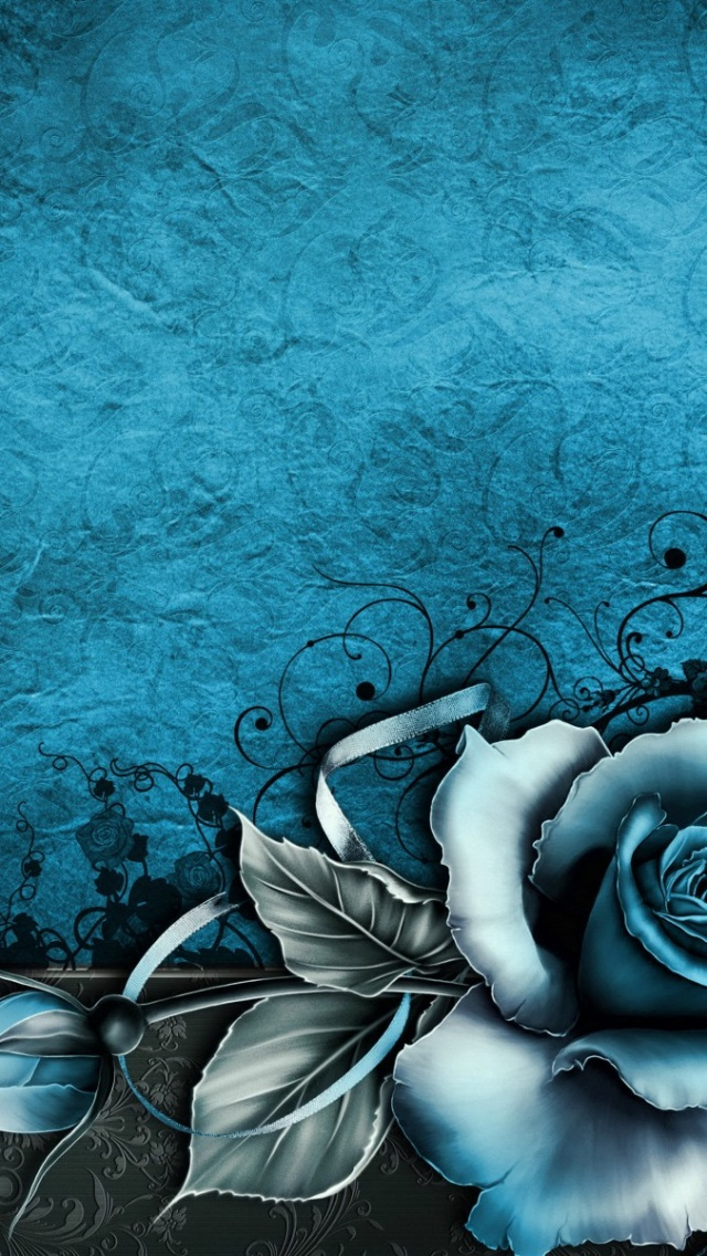 Vintage Rose Abstract Blue Iphone 5
