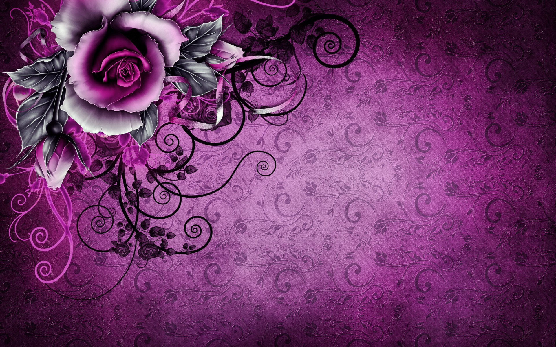 Purple Roses Background Images: Vintage Rose Abstract Purple Wallpapers