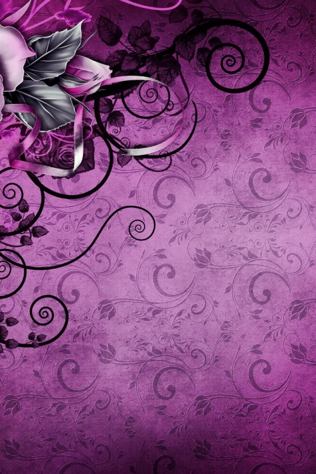 640x960 Vintage Rose Abstract Purple Iphone 4 Wallpaper
