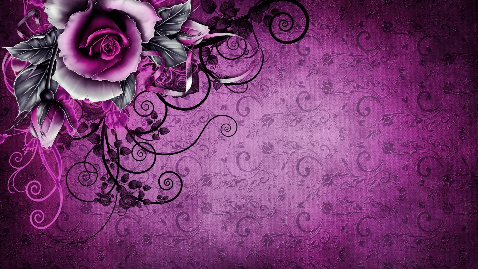 1920x1080 Vintage Rose Abstract Purple desktop PC and Mac ...
