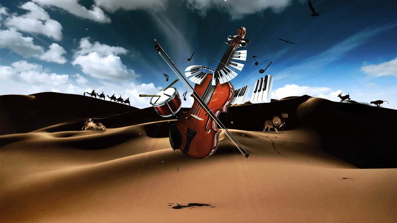 1366x768 Violin Landscape Art Digital Desktop Pc And Mac Wallpaper